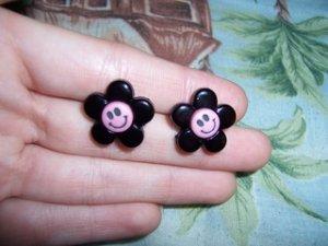 Pink & Black Smiling Dasiy Earrings