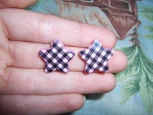 Pink & Black Star Earrings