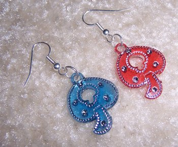 Red & Blue Mushroom earrings