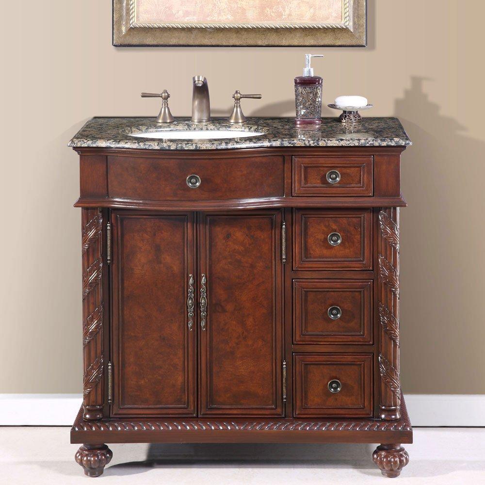 36 Victoria Granite Stone Top Off Center Bathroom Vanity Single Sink Left 0213