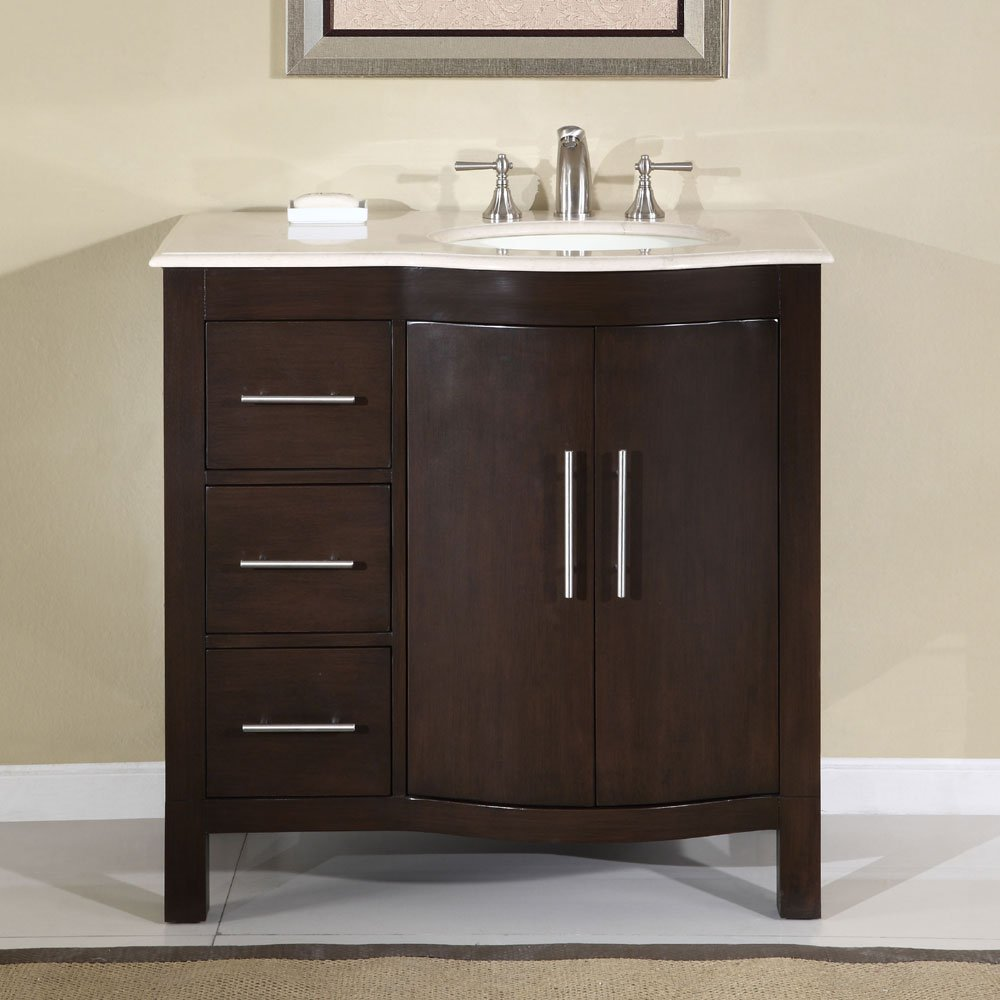 36 Kimberly Wr Crema Marfil Marble Bathroom Cabinet Off Center Sink Vanity 0912