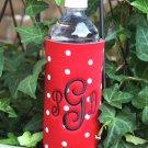 Monogrammed Polka Dot Water Bottle Koozie