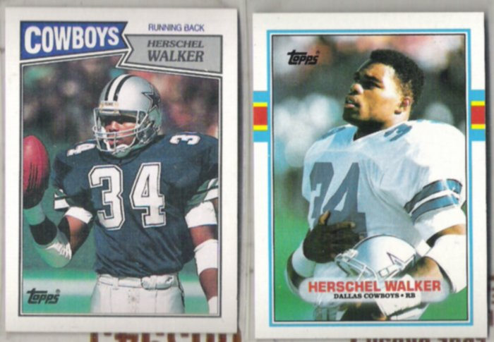 (2) HERSCHEL WALKER 1987  + 1989 Topps.  COWBOYS