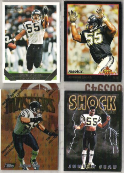 JUNIOR SEAU (4) Card Lot w/ 1993 Topps Gold, 1992 Skybox Poster Inserts++.  CHARGERS