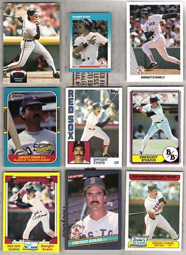 DWIGHT EVANS (9) Card Lot w/ 1980s, 90 Leaf - 1982 - 92
