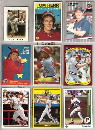 TOM HERR (8) Card Lot - 1984 - 1991 w/ Kent Hrbek 1992