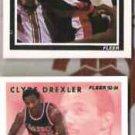CLYDE DREXLER 1989 Fleer #128 + 1993 Fleer Career HL Insert #3 of 12.  BLAZERS