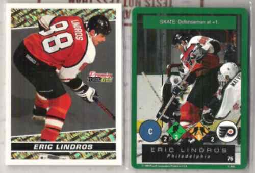 ERIC LINDROS 1994 Topps Black GOLD Insert + 1995 Playoff.  FLYERS