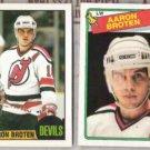 AARON BROTEN (2) Lot w/ 1987 + 1988 Topps - DEVILS