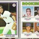 JACK CLARK (2) Lot w/ 1977 Topps RC w/ Mazzilli + 1978 Topps
