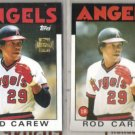 ROD CAREW (2) Lot::  1986 Topps + 2001 Archives Gold Stamp