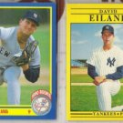 DAVE EILAND (2) Cards:  1990 Score RC + 1991 Fleer  NYY