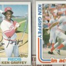 KEN GRIFFEY (2) 1982 Topps #620 + #621 IA.  REDS
