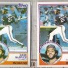 BAKE McBRIDE 1983 Topps + O-Pee-Chee.  INDIANS