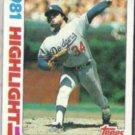 FERNANDO VALENZUELA 1982 Topps HL #6.  DODGERS
