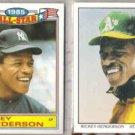RICKEY HENDERSON 1986 Topps AS Glossy + 1990 Score DT.  NYY  A's