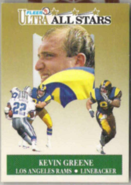 KEVIN GREENE 1991 Fleer Ultra AS Ins. #10 of 10.  RAMS