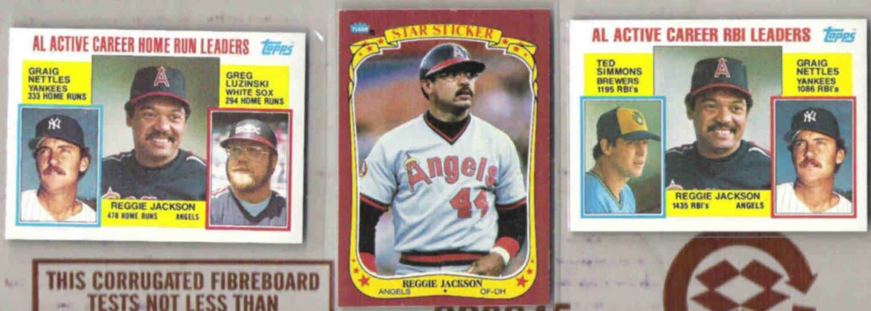 REGGIE JACKSON (3) Cards w/ 1984 Topps, 1986 Fleer Sticker.  ANGELS