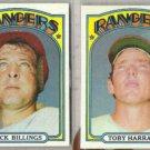 DICK BILLINGS / TOBY HARRAH 1972 Topps.  RANGERS