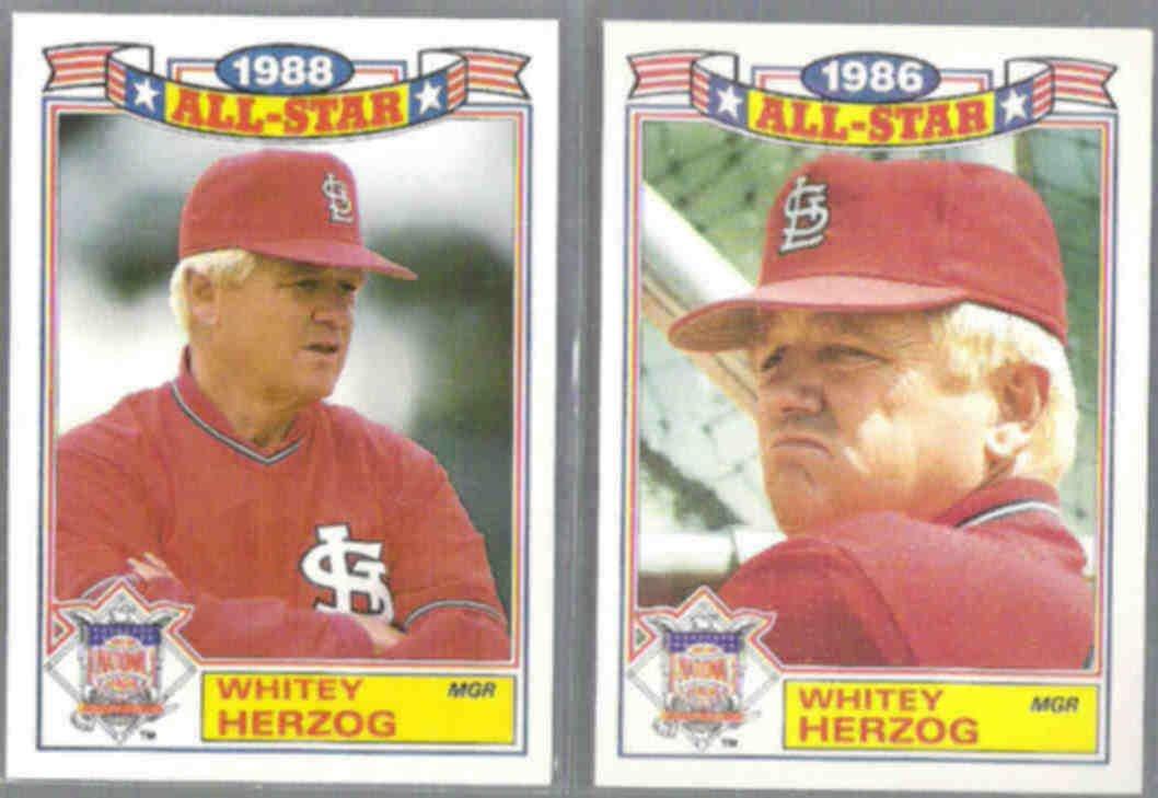 WHITEY HERZOG 1987 + 1989 Topps AS Glossy.  CARDS