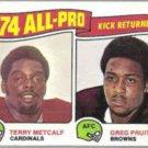 GREG PRUITT / Metcalf 1975 Topps #225.  BROWNS