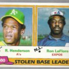 RICKEY HENDERSON 1981 Topps SB Leaders #4 w/ LeFlore