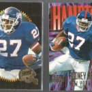 RODNEY HAMPTON  1996 Summit #30 + 1997 Impact #120.  GIANTS