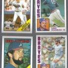 BRAVES (4) Card (1984 + 1988) Topps Lot w/ Murphy, Sutter ++
