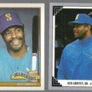 KEN GRIFFEY SR. 1991 Topps #465 + 1991 Leaf #503.  MARINERS