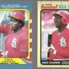 VINCE COLEMAN 1987 Fleer LE #10 of 44 + 1989 Fleer AS #8 of 44.  CARDS