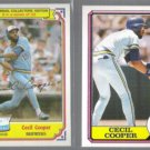 CECIL COOPER 1984 Topps Drake's + 1987 Topps B+B odds.  BREWERS
