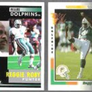 REGGIE ROBY 1991 Pinnacle #392 + 1992 Wild Card #330.  DOLPHINS