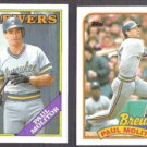 PAUL MOLITOR 1988 Topps #465 + 1989 Topps #110.  BREWERS