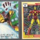IRON MAN (2) Card Marvel Lot w/ 1991 Impel #13 + 1992 Skybox #38. Comic