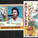 STEVE CARLTON 1981 Topps #5 w/ Stone + 1984 Topps #780.  PHILLIES