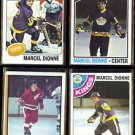 MARCEL DIONNE (4) Card Topps Lot (1974 - 1978) mid-grade.  KINGS / RED WINGS