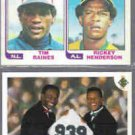 RICKEY HENDERSON 1982 Topps #164 w/ Raines + 1991 UD #636 w/ Brock.