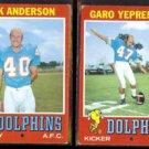 DOLPHINS (2) 1971 Topps - DICK ANDERSON #67 + GARO YEPREMIAN #121.