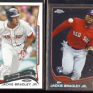 JACKIE BRADLEY JR. 2013 Topps Chrome Rookie + 2014 Topps Future Stars.  RED SOX