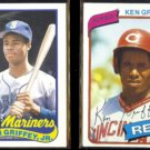 KID GRIFFEY 1989 Topps Traded + Dad 1980 Topps.  MARINERS / REDS
