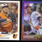 MANNY MACHADO 2013 Topps RC #270 + ADAM JONES 2015 Topps Foil #19.  ORIOLES
