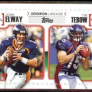 JOHN ELWAY / TIM TEBOW 2010 Topps Gridiron Lineage Insert #GL-ET.  BRONCOS