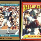 BOB GRIESE 1990 Pro Set HOF #24 + 1990 Score HOF #601.  DOLPHINS