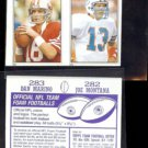DAN MARINO + JOE MONTANA (2) 1985 Topps mini Stickers #'s 283 + 282.