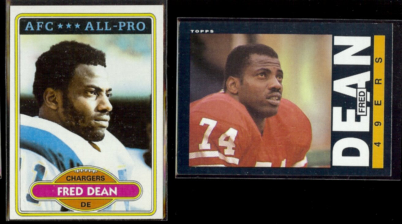 FRED DEAN 1980 Topps #392 + 1985 Topps #153.  CHARGERS / 49ers