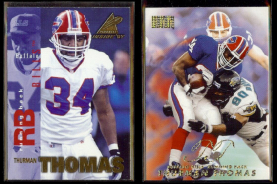THURMAN THOMAS 1997 Pinnacle Inside + 1998 Skybox Premium.  BILLS