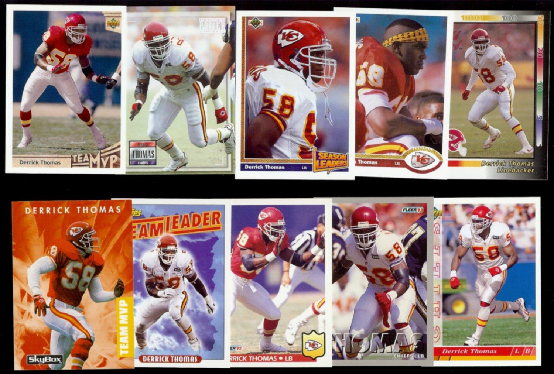 DERRICK THOMAS (10) Card Lot (1991 - 1993).  CHIEFS