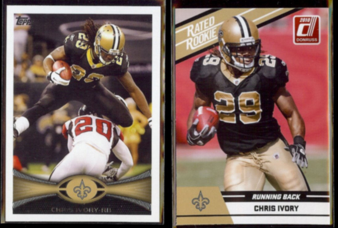CHRIS IVORY 2010 Donruss Rated Rookie #18 + 2012 Topps #349.  SAINTS
