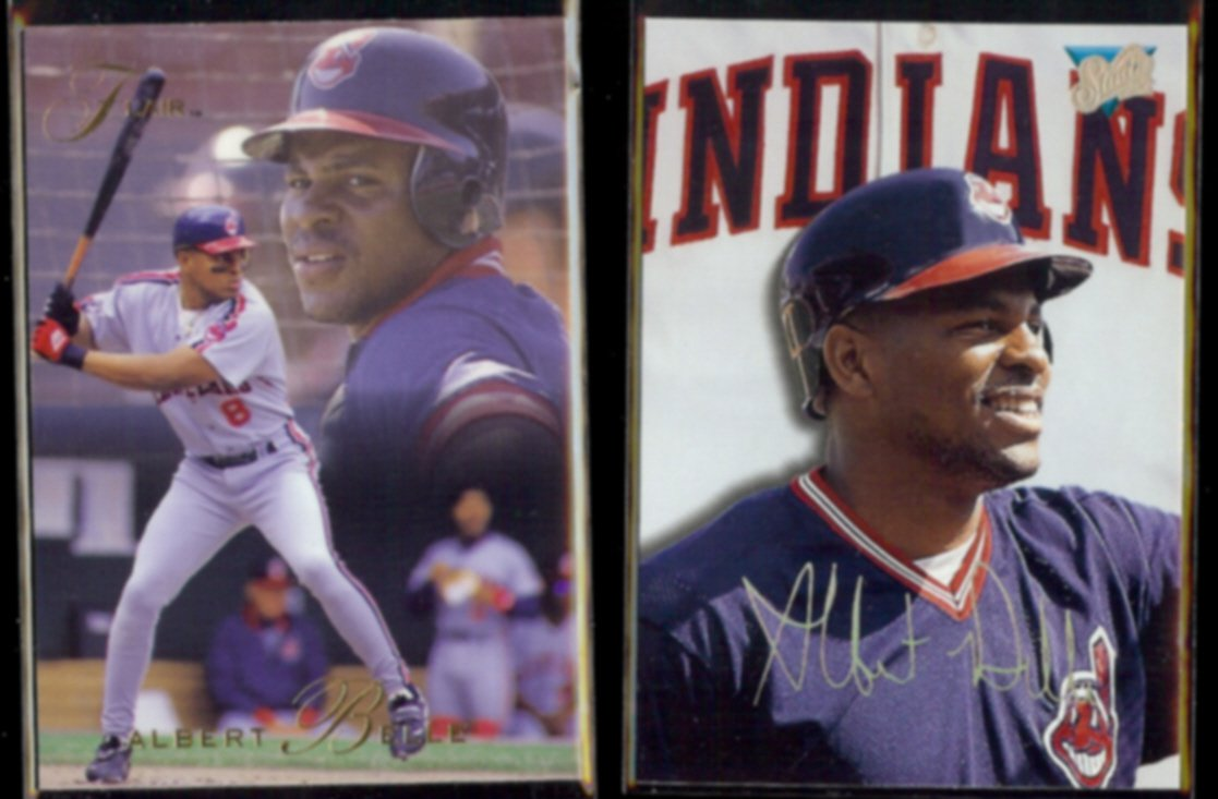 ALBERT BELLE 1993 Flair #192 + 1993 Studio #95.  INDIANS