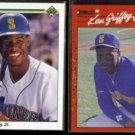 KEN GRIFFEY Jr. 1990 Upper Deck #156 + 1990 Donruss #365.  MARINERS